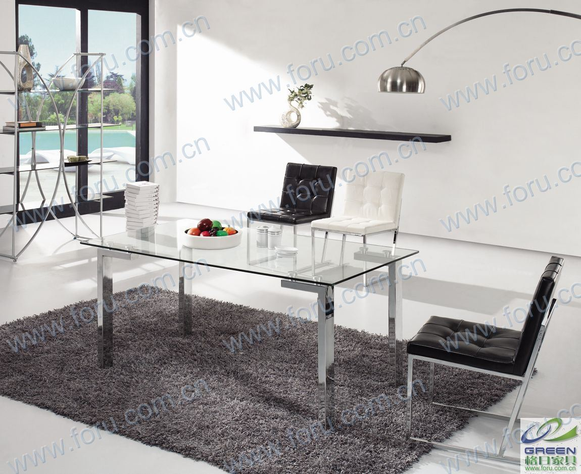 China modern stainless steel furniture roca dining table table ct 072