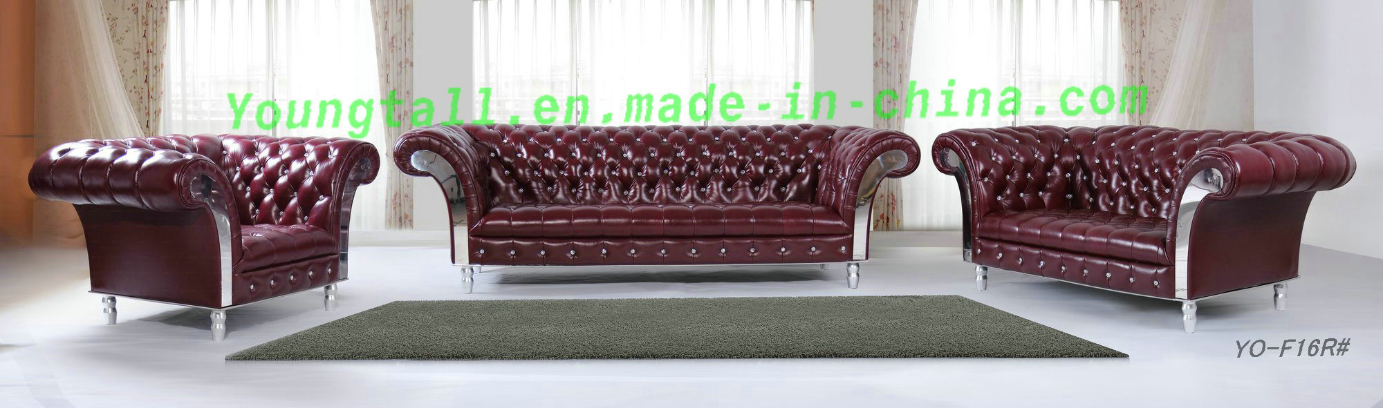 European Simple Style Living Room Leather Sofa Yo-8W35#