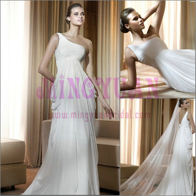 OneShoulder Chiffon Vintage Wedding Dress WB07