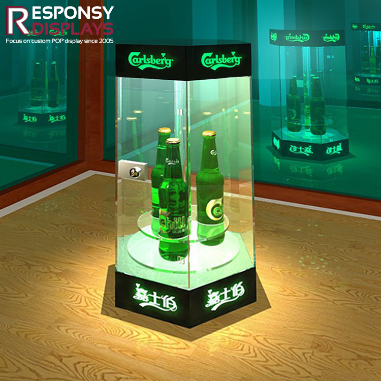 Hot Selling Counter Beer Bottle Metal & Acrylic Display Holder with Light for Wine
