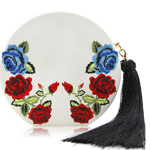 Fashionable Women Clutch Party Bag Round Embroidery Ladies Evening Bags with Tassel for Wholesale Eb917