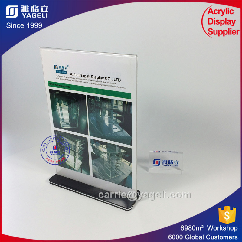 2 Sides T Shaped Acrylic Menu Holder Display