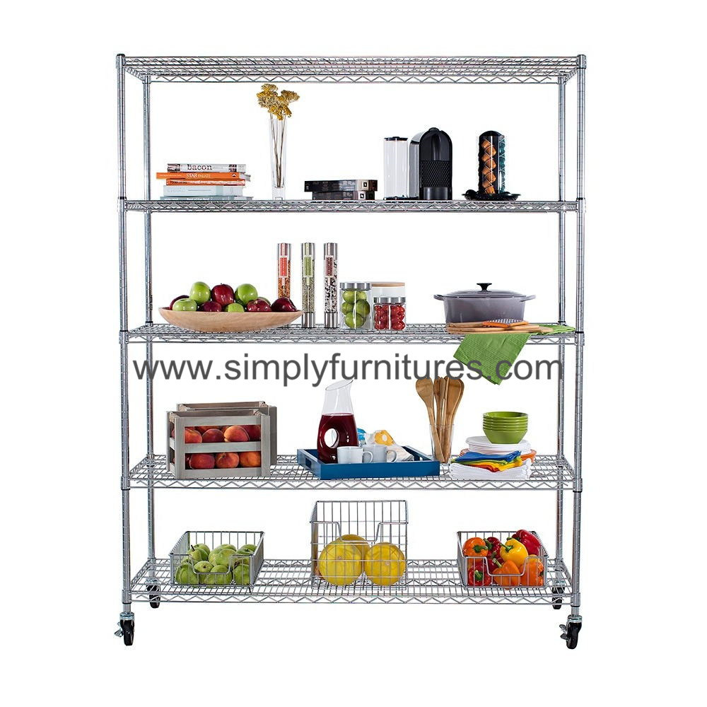 "18"" Chrome Wire Shelving for Factory with 5 Layers (MBST-06)"