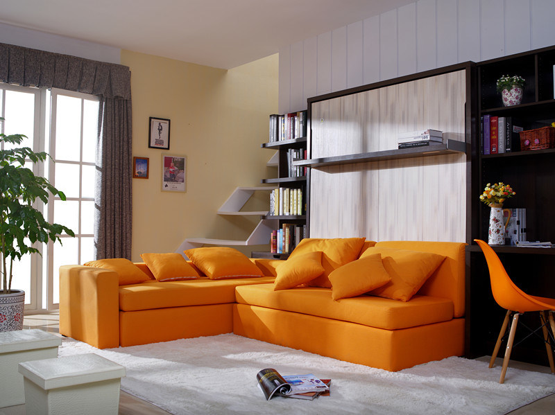 Vertical Tilting Double Wall Bed With Sofa And Boiserie Cabinet