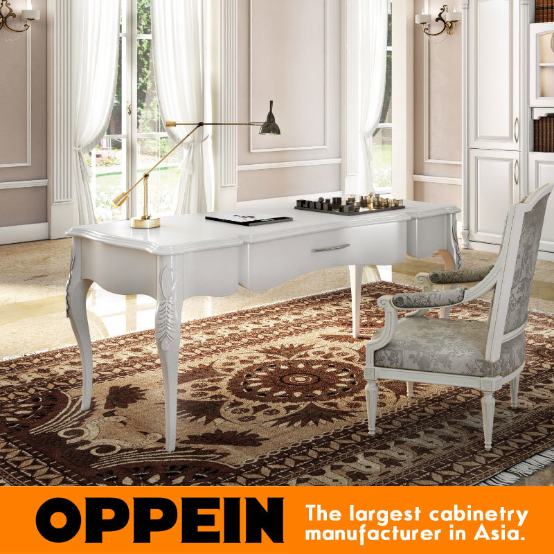 Oppein Euro Style White Carving Painted Study Office Computer Table (ST61526)