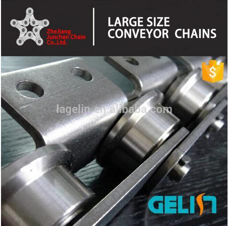 Double Wide 316 Stainless Steel Conveyor Roller Chain with Attchments