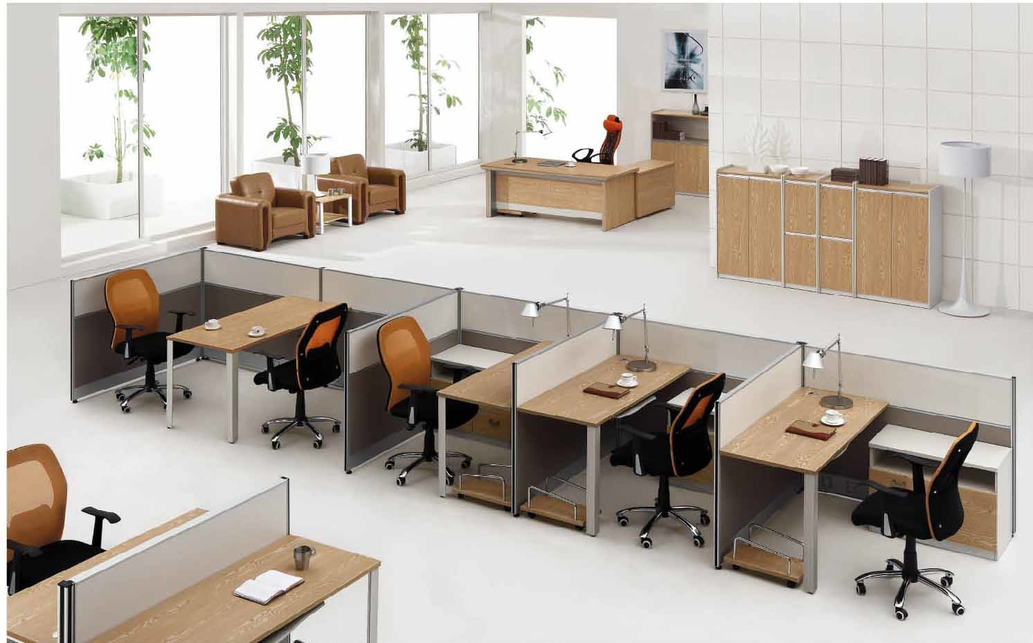 Modern Aluminum Glass Wooden Cubicle Workstation / Office Partition (NS-NW305)