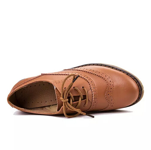 Leather Shoes Women Flats Casual Fashion Lace up Footwear (AKLS9)