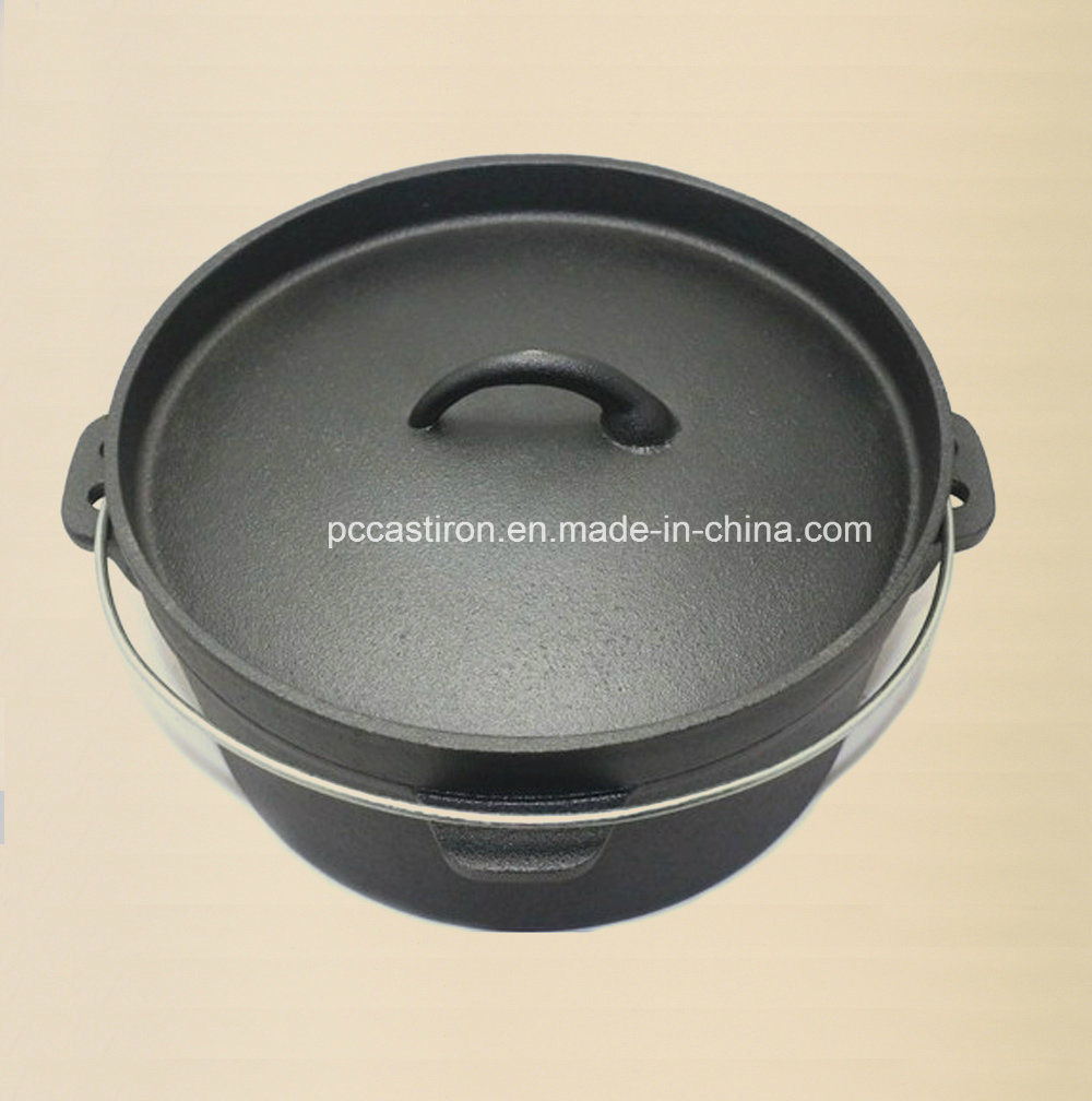 Preseaseond Cast Iron Dutch Oven with Reversable Double Use Cover
