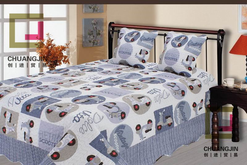 Printed 100% Cotton or Polyester Children Quilt Set (bedding set)