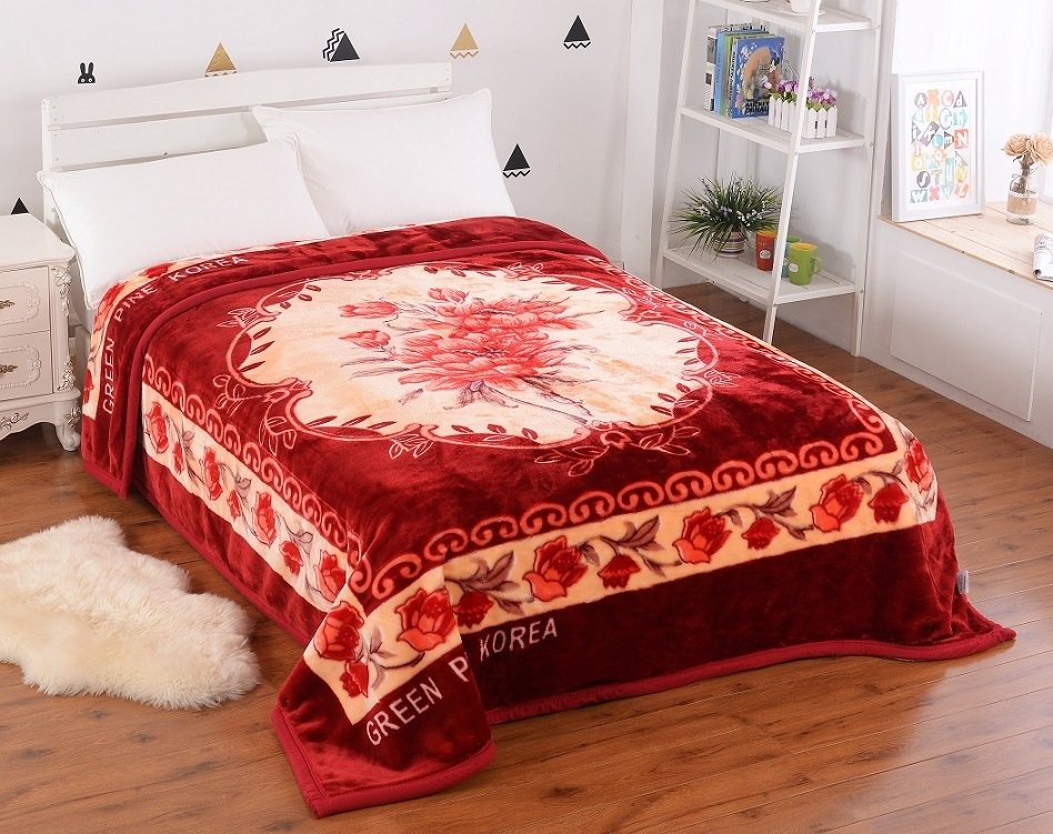 100% Polyster Korea Style 2ply Weft Raschel Blanket