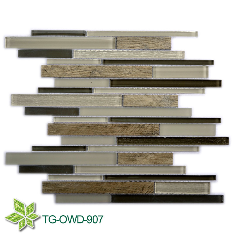 Strip Mixed Color Glass Mixing Tiles/Glass Mosaic (TG-OWD-907)