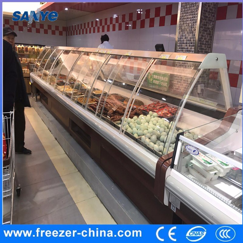 Supermarket Food Display Refrigerator Chiller with Curved Glass Door in Front