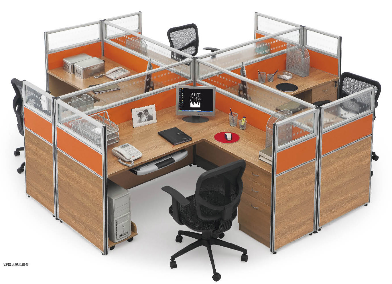 Modern Cross Computer Desk Office 4 Person Workstation