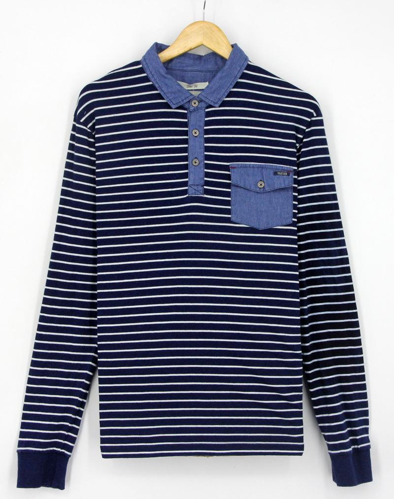 2017 Men Cotton Knitting Denim Indigo Stripe Washing Longer Sleeve Polo Shirts Clothing
