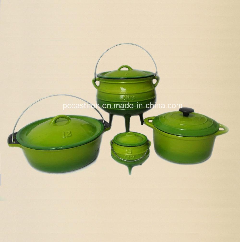 #3 Enamel Cast Iron Potjie Pots with Three Legs/Cauldron