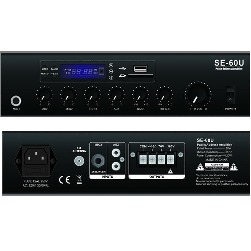 Public Address Mixer Amplifier Se-60u with USB, SD, FM, Bluetooth, Echo