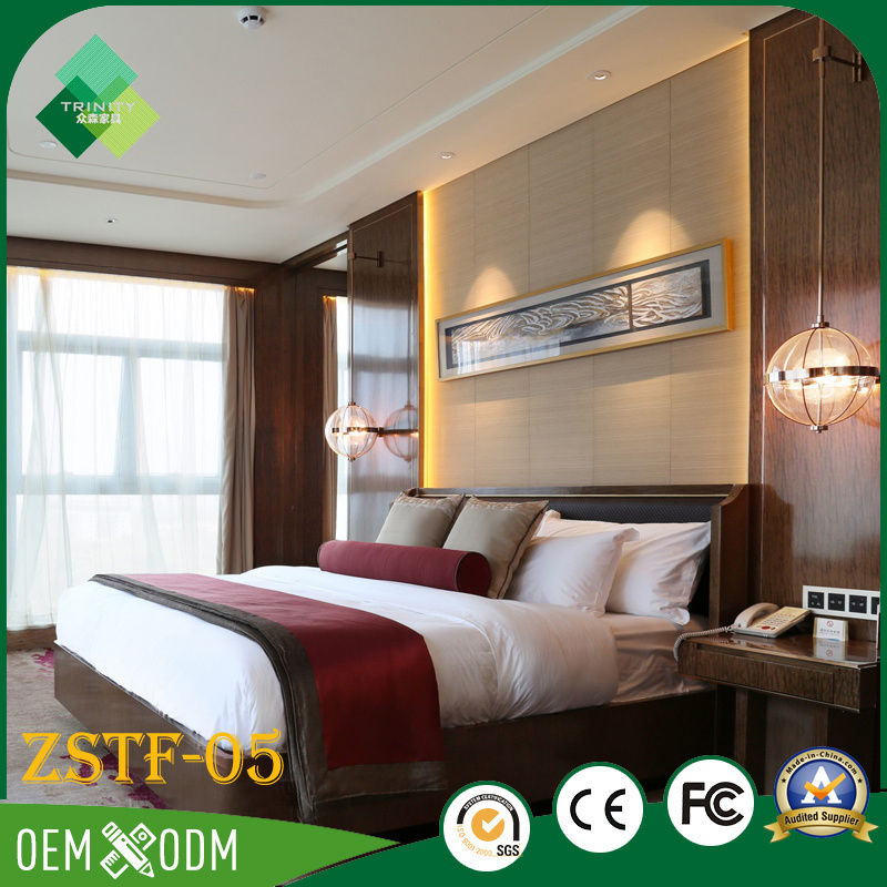 Elegant Chinese Style of Wood Hotel Bedroom Furniture Set (ZSTF-05)