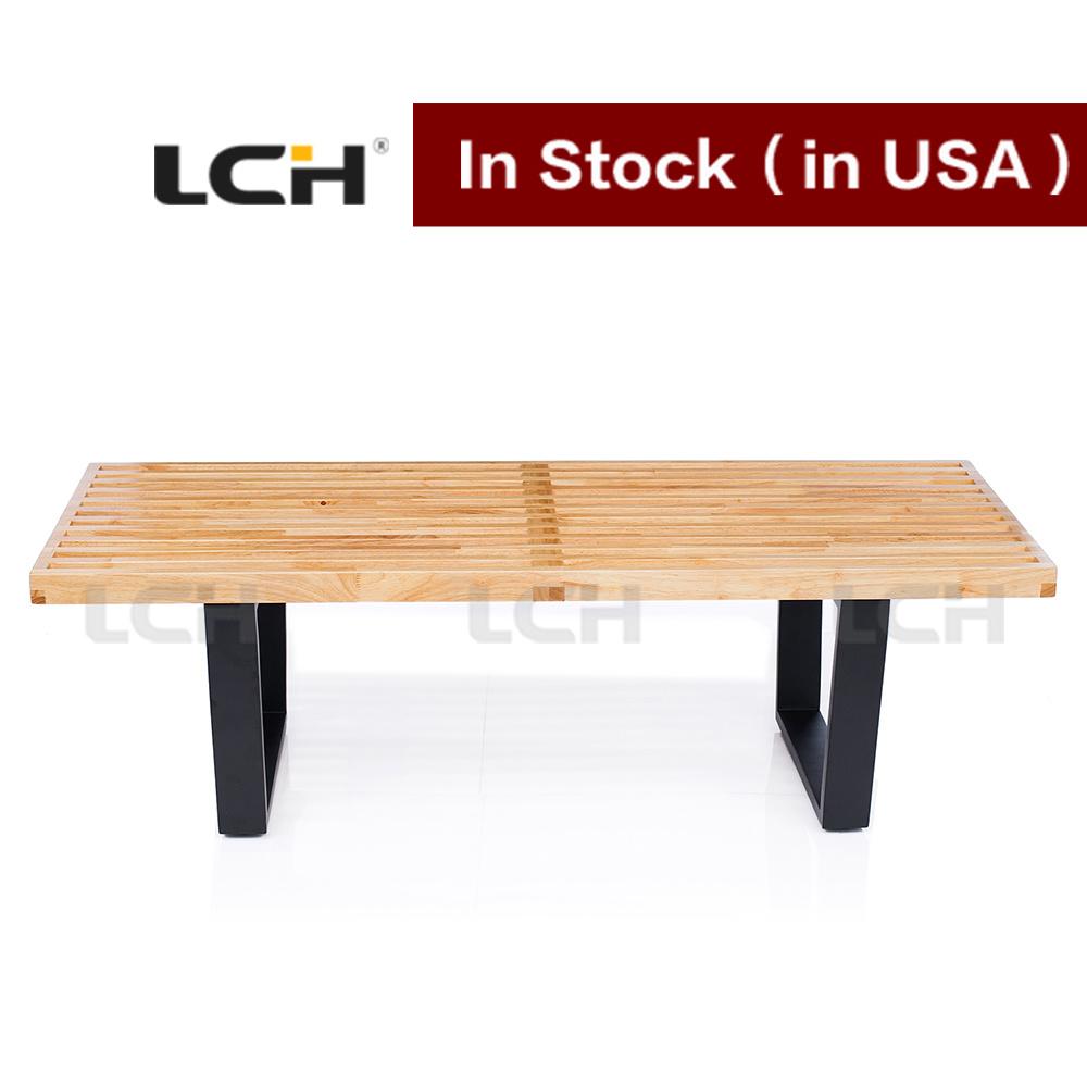 Outdoor Garden Bench Simple Wooden Nelson Platform Bench in Stock (122*47*36cm)