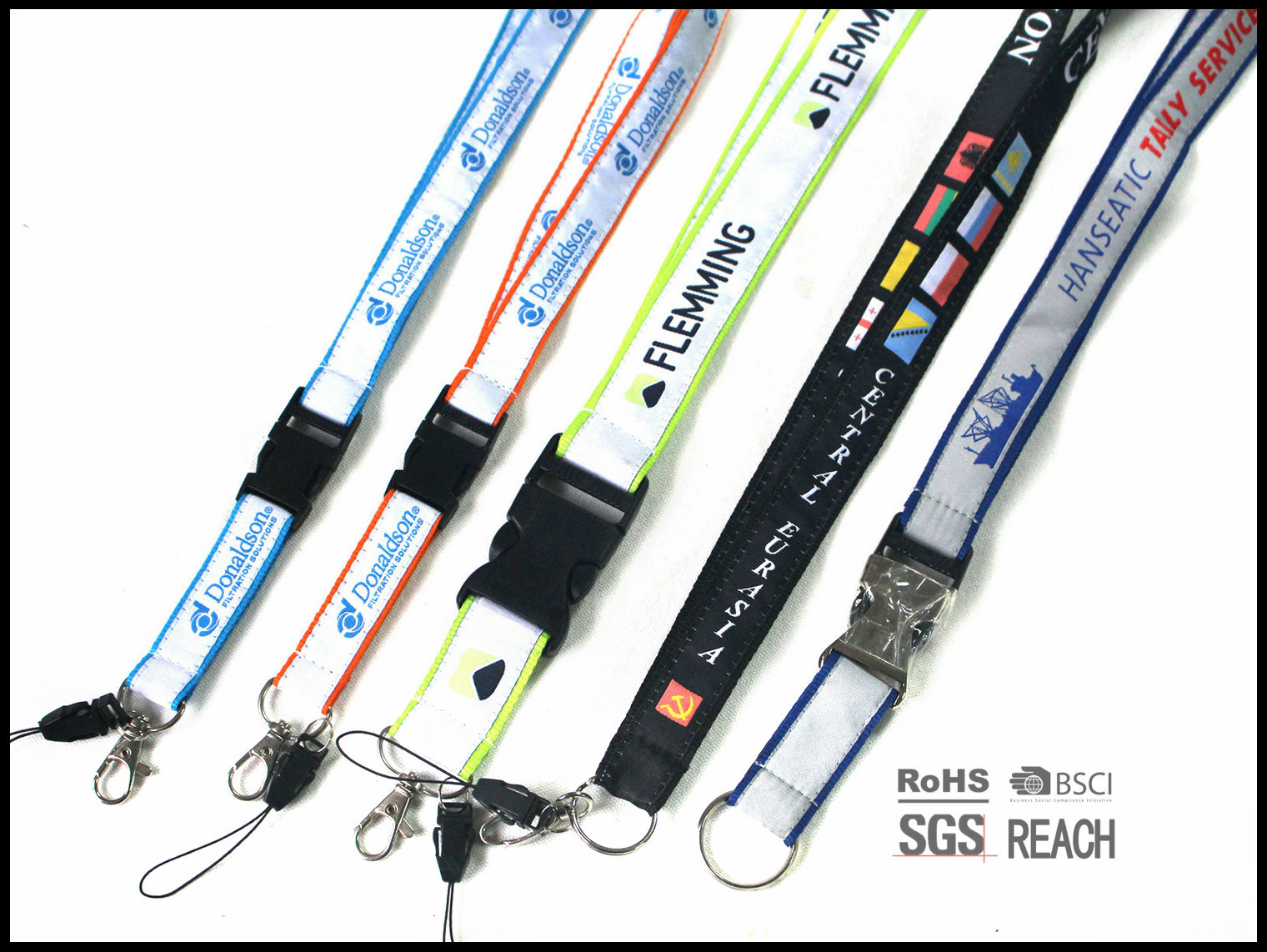 Merchandising Brand Custom Neck Polyester Fiber Lanyards with Logo Printed ID Card Holder