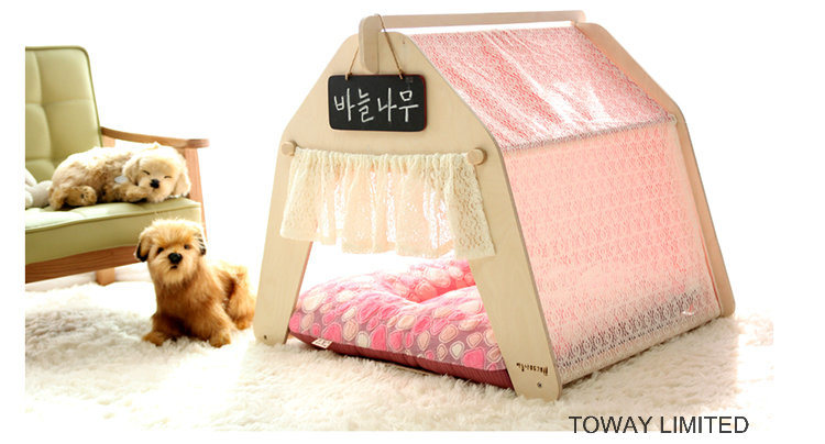 Fashion Dog Wood Tent Lace Princess Hexgon Pet House