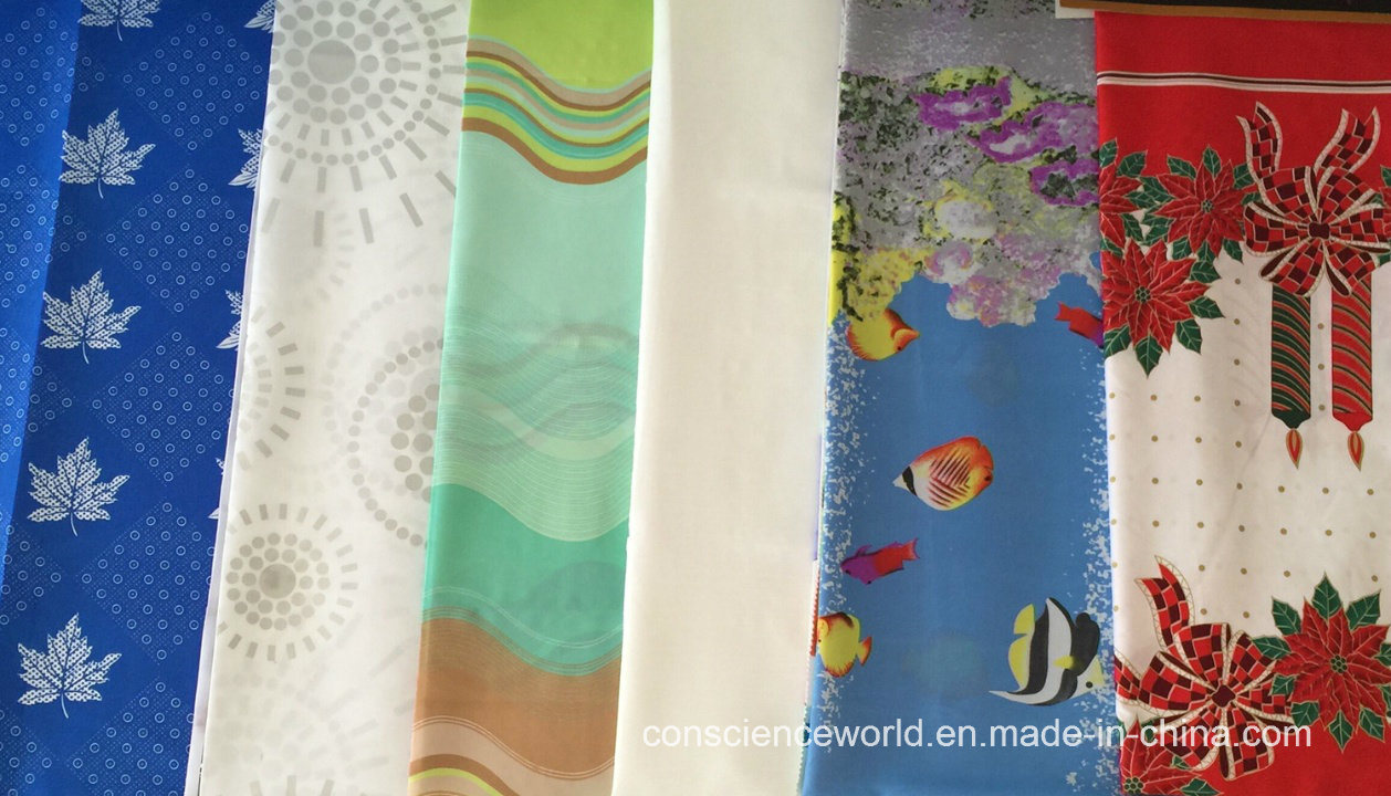100%Polyester Printed/Embossed Waterproof Shower Curtain Fabric 63GSM