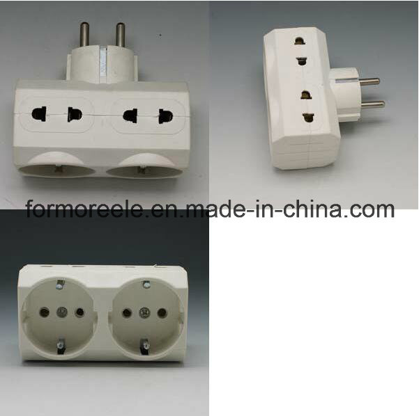 Europe Standard 3 Outlet PC White 250V16A Electronic Travel Adapter