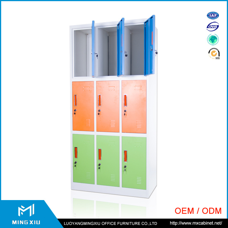 Luoyang Mingxiu Metal Office Furniture 9 Door Clothes Wardrobe Locker/Steel Clothes Cabinet