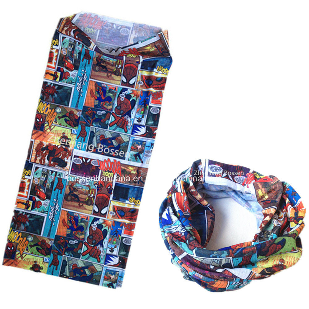 China Factory Supplier Customized Logo Cartoon Printed Polyester Magic UV Protection Necktubes Bandana