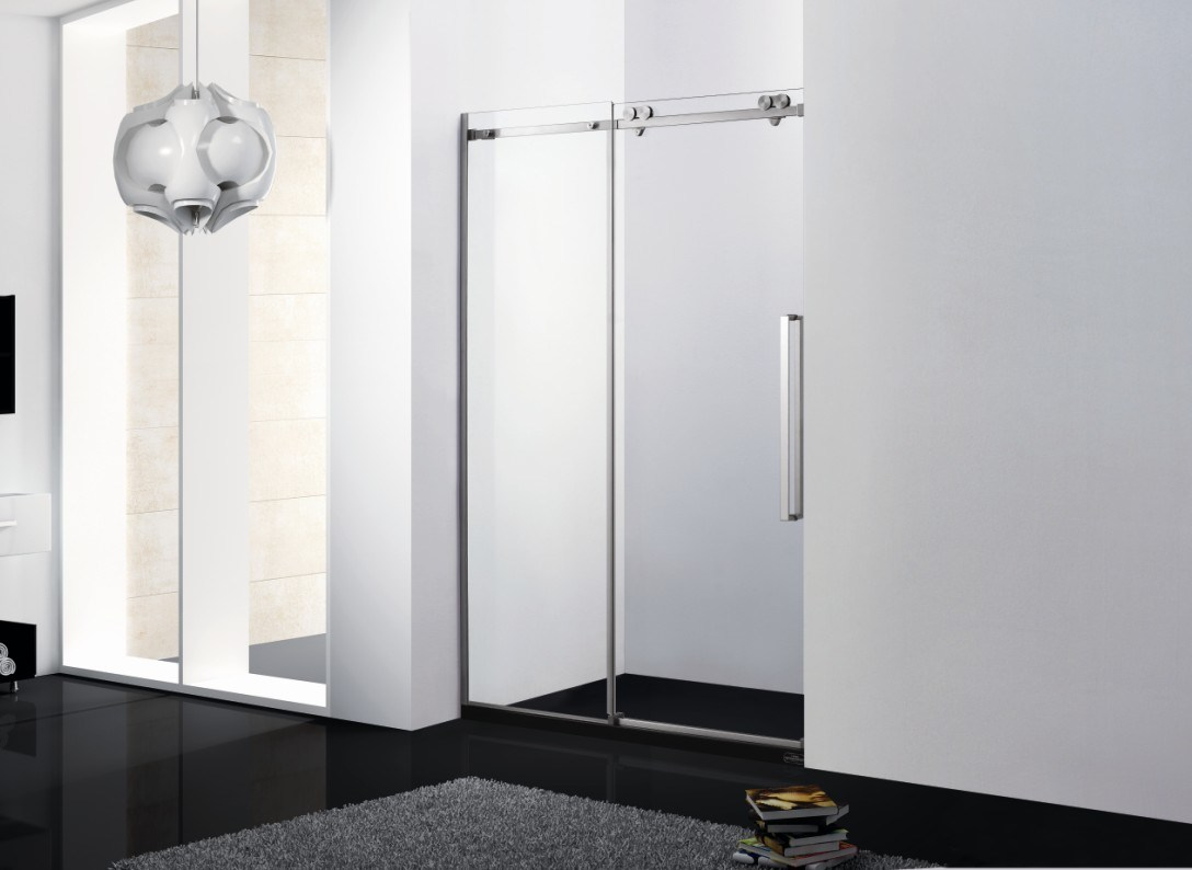 Shower Door Sliding\ Shower Room\ Big Wheels Shower Door\ Stainless Steel Shower Screen