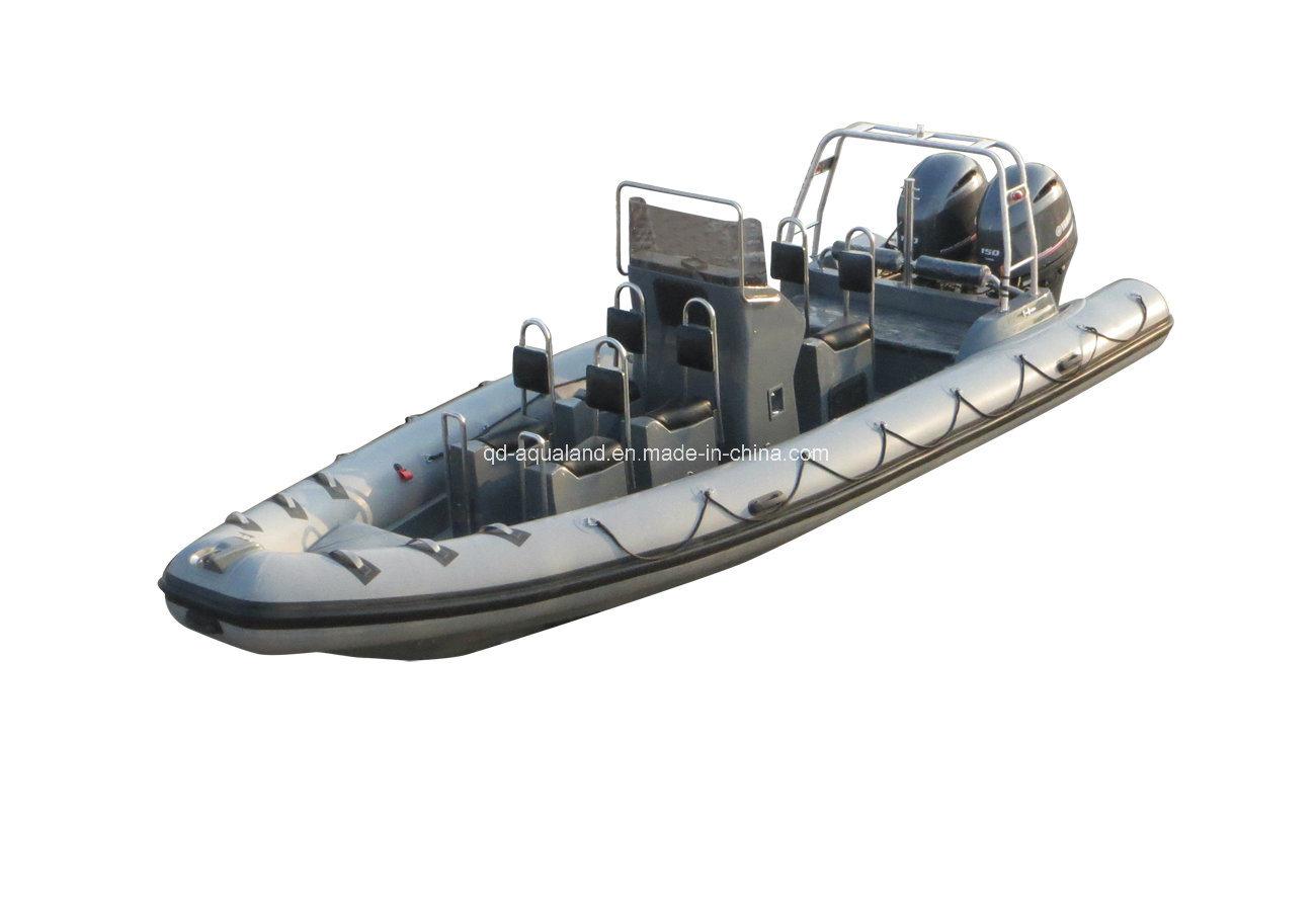 China Aqualand 25feet 7.5m Rigid Inflatable Patrol Boat/Fiberglass Rib Rescue Boat (RIB750B)