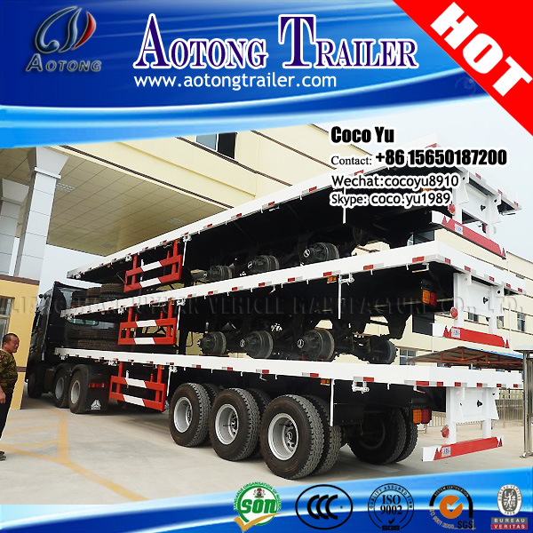 Aotong Brand Tri Axles 40′ Flatbed Trailer with Twist Locks