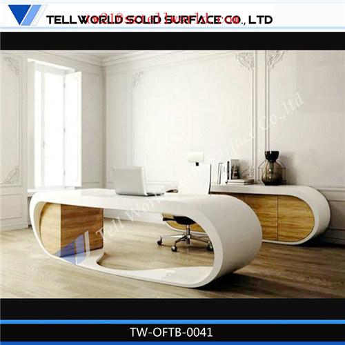 Artificial Acrylic Stone Table Fancy Modern Boss Office Desk Italian Computer Table