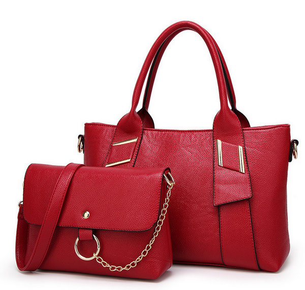 Leather Bags 2 Sets Handbags Set Fashion Tote Lady Bags