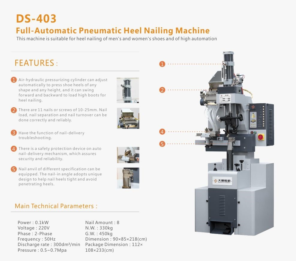 Full-Automatic Pneumatic Heel Nailing Machine