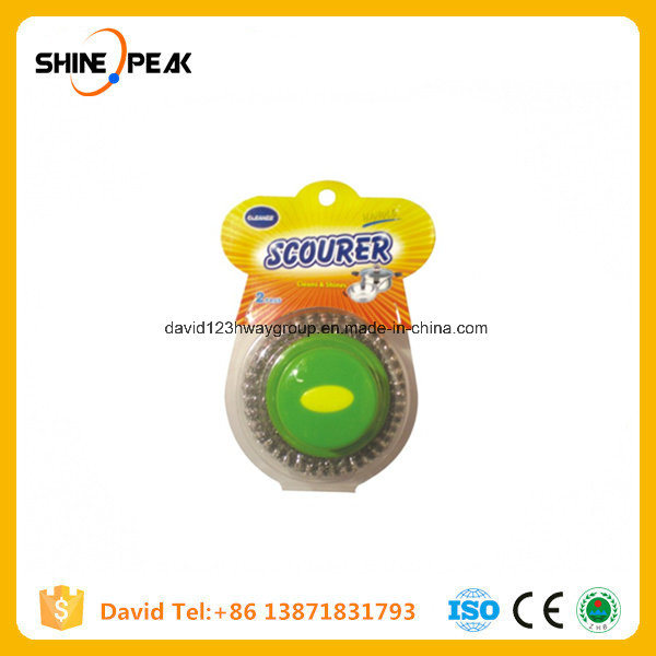 Galvanized Steel Wire Metal Pot Scrubber with Plastic Handle