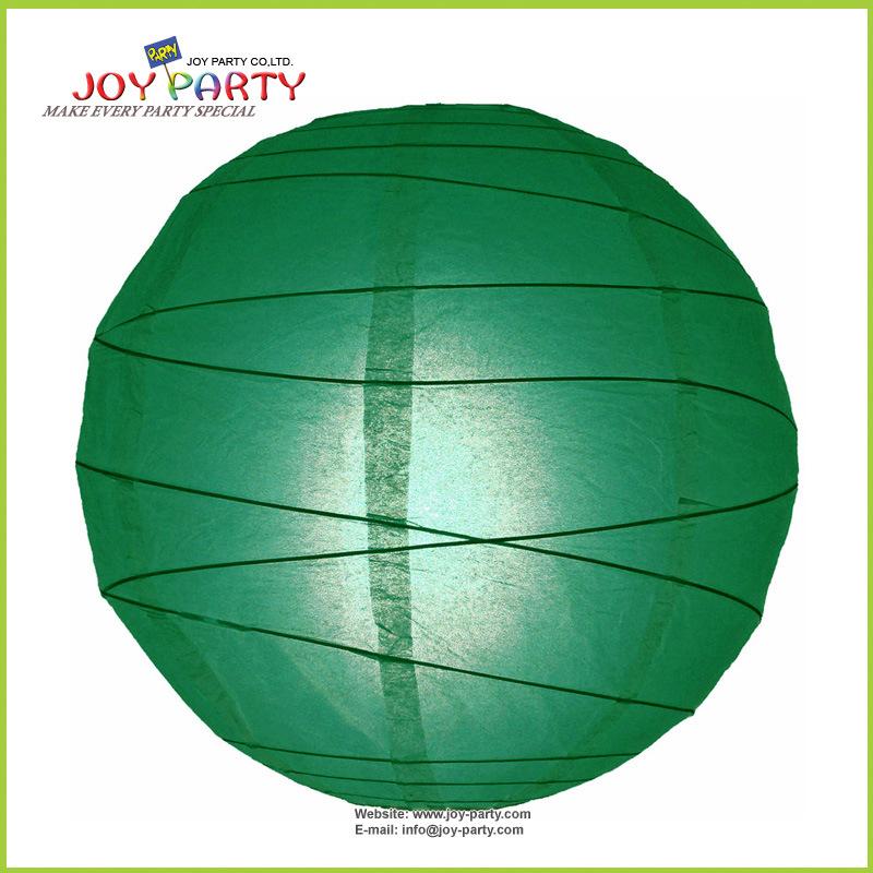 Christmas Green Irregular Ribbed Round Paper Lanterns