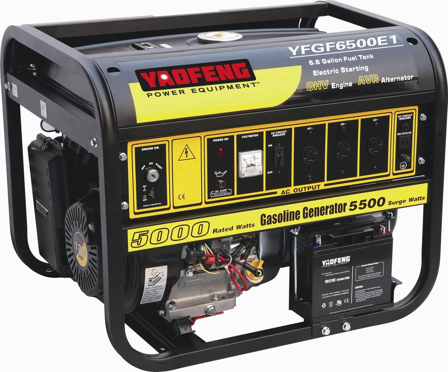 5000 Watts Portable Power Gasoline Generator with EPA, Carb, CE, Soncap Certificate (YFGF6500E1)