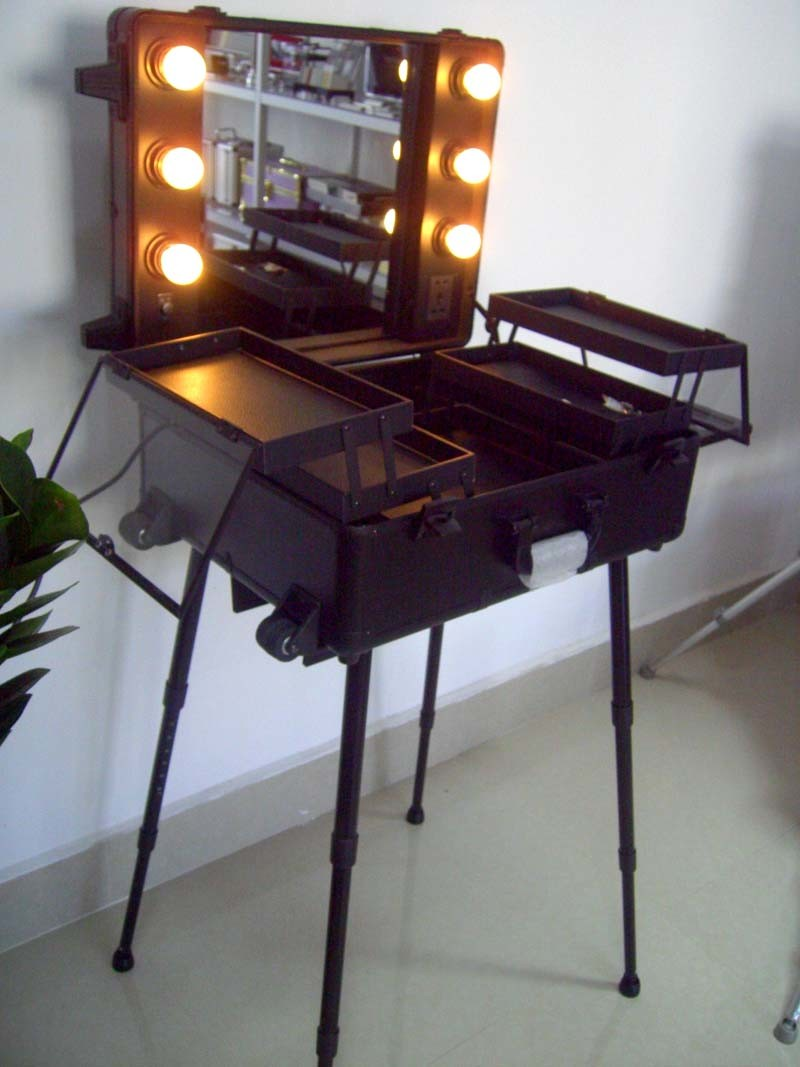 China Professional Cosmetic Trolley Case With Lamp Makeup
