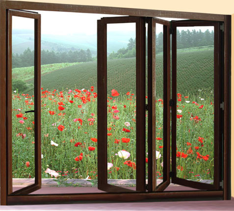 China wood finish aluminium bifold glass windows photos for 2 pane window