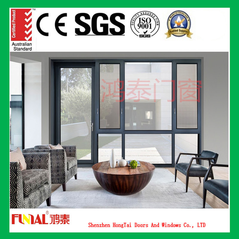 Customized Color Double Tempered Glass Aluminum Casement Window