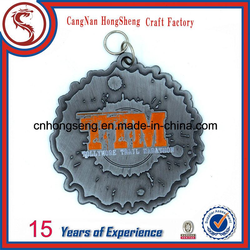 Customized Antique Gold Silver Copper Sport Metal Medal with Colorful Customized Ribbon