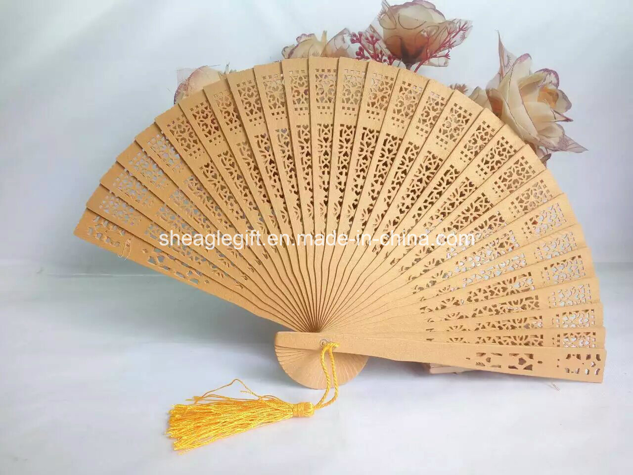 Promotional Gifts Engrave Logo Wooden Hand Fan