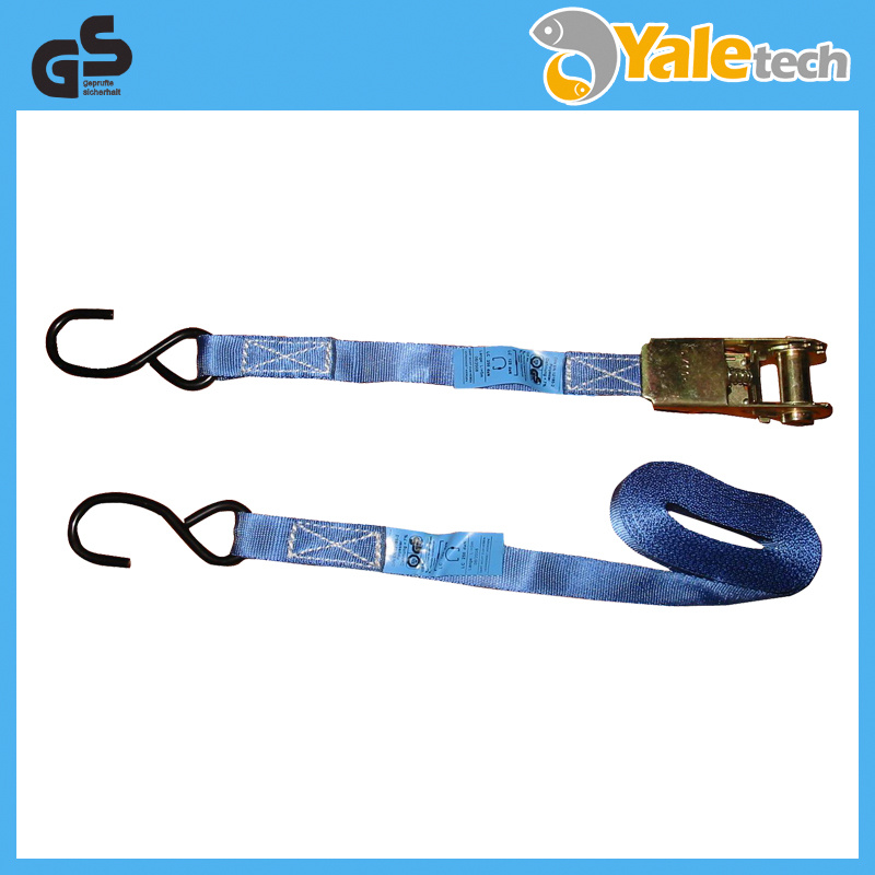 TUV/GS Certified Polyester Ratchet Lashing with S Hooks