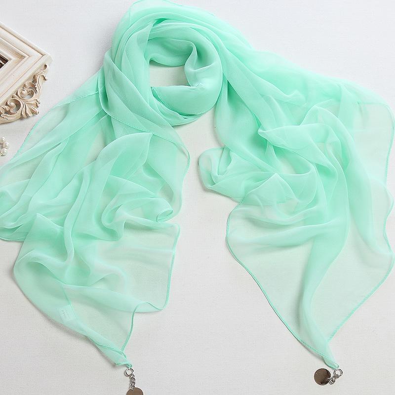 Pure Color Polyester Chiffon Scarf Shawl