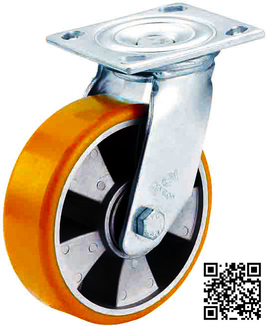 4 Inch-8 Inch Orange PU on Aluminum Caster Wheel Heavy Duty Swevil Industrial Caster
