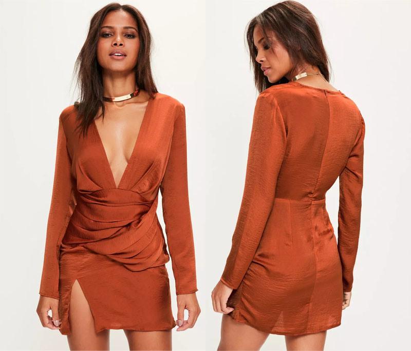 Orange Silky Long Sleeve Panelled Evening Dress