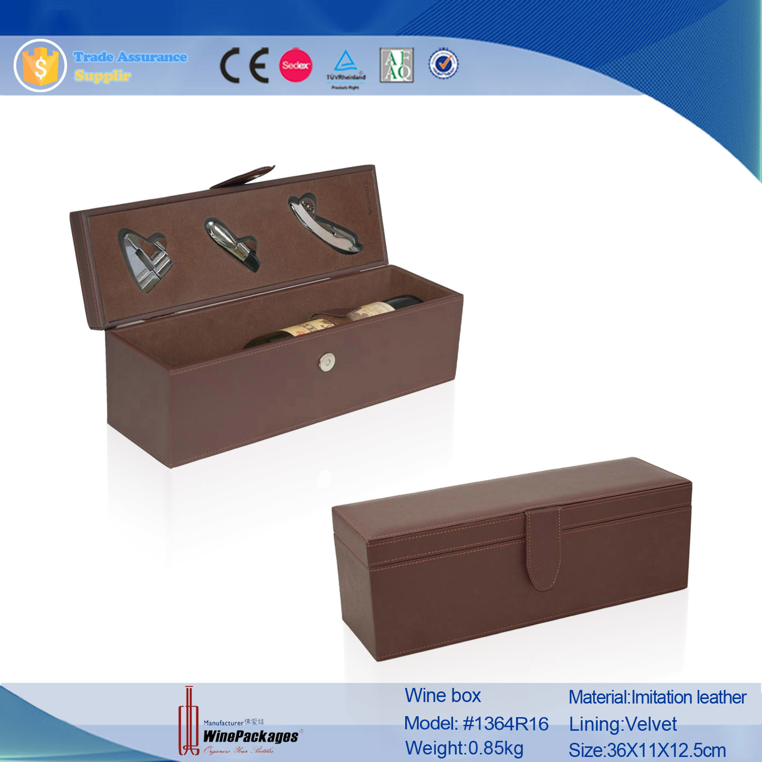 Hand Made Leather Wooden Wine Bottle Boxes (1364R2)