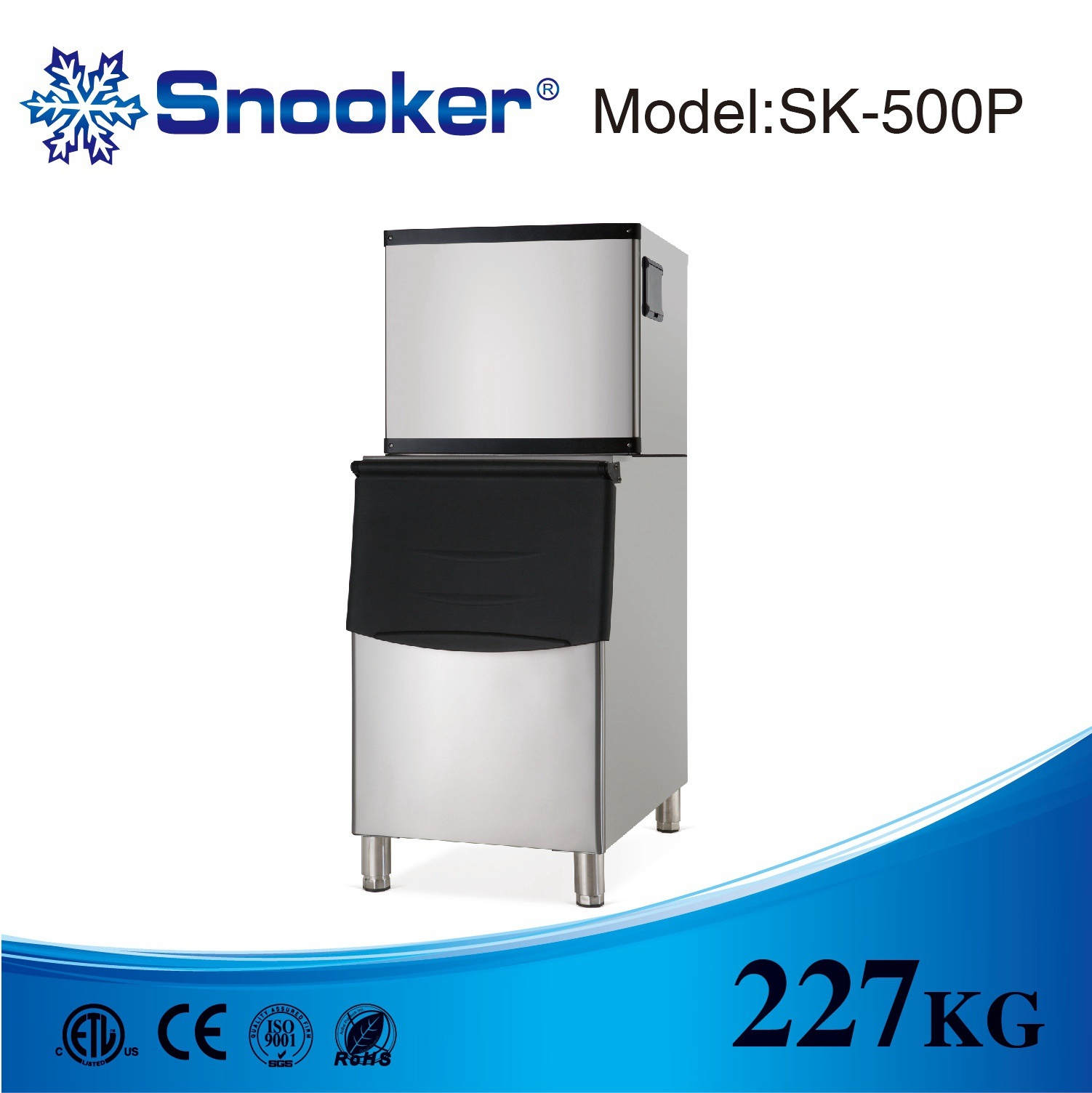 Stainless Steel 227kg/24h Automatic Square Ice Maker