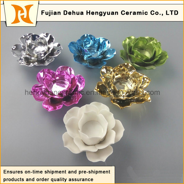 Colorful Flower Shape Ceramic Candle Holder (Home Decorative)